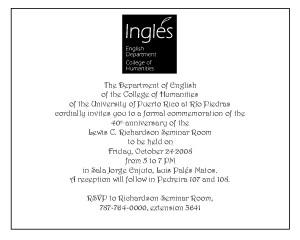 Invitation to 40th Anniversary celebration