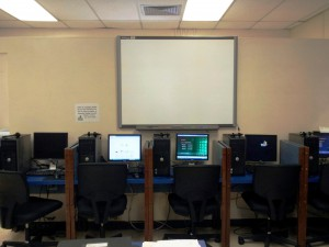 The new flat screen TV in the language lab